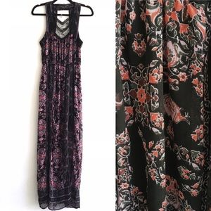 FREE PEOPLE Boho Dress Black With Floral Print 2